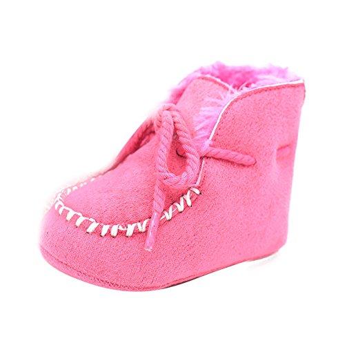 Ouneed® Epaisseur Souple Chausson Boots Lacet pour Bebe 0 - 18 mois (11, Gris) Rose