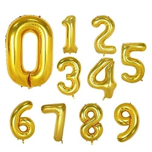 YANODA 1 Stück 40 Zoll Rose Gold Silber Aluminiumfolie Anzahl Luftballons 0-9 Geburtstag Hochzeit Verlobungsfeier Decor Globo Kinder Ball Supplies (Ballon Size : 16inch, Color : Gold-Number 5)
