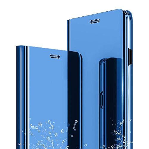 Xiaomi Redmi Note 5 / Note 5 Pro Funda, Flip Tapa Libro Carcasa - Modelo Inteligente Fecha y Espejo Brillante tirón del Duro Case, Espejo Plegable en Reflectante para Xiaomi Note 5 (Azul)