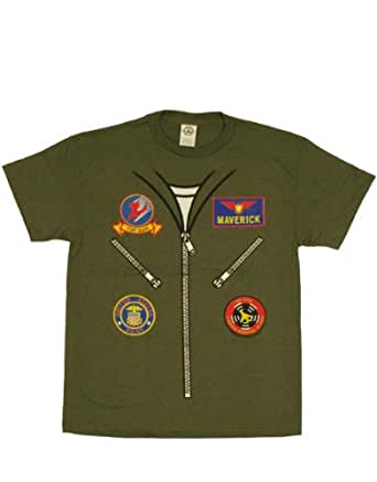 Top Gun T-Shirt, Mens Officially Licensed Flightsuit Green, X-Large, Chest 46 - 48""
