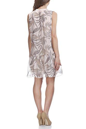 Laura Moretti - Seidenkleid mit Blumen und Blätterndruck Rosa
