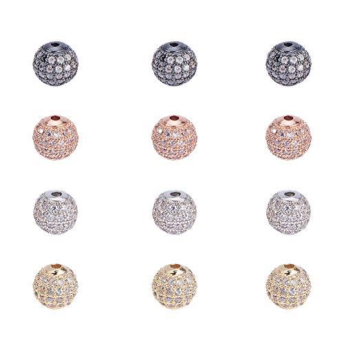 PandaHall Elite, 12 perline rotonde da 8mm in ottone, con pavé di zirconi cubici, per bracciali, collane, orecchini, creazione di gioielli, colori assortiti