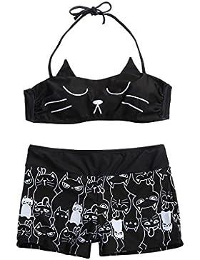 Beikoard Bikinis Mujer, Mujeres niñas Pantalones Cortos Bikini con Tiras de Kitty Set Rellenado bañador