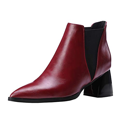 Y2Y Studio Femmes Boots Cheasel Simple de Cheville avec Talon Carre Conforts 6cm Sexy Bout Pointu Fashion Cone Heels Shoes pour Autume