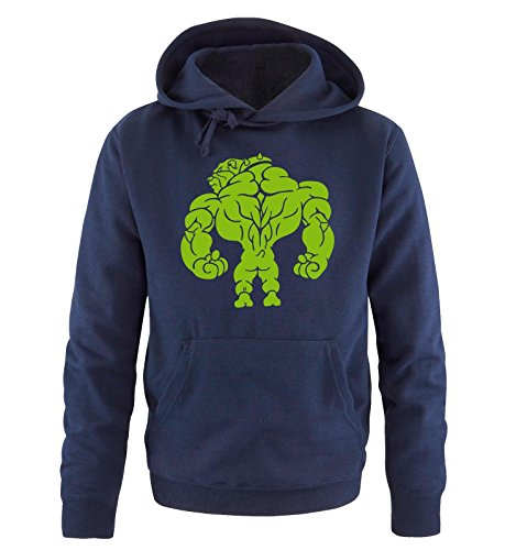 Comedy Shirts - BODYBUILDING BULLDOG - Uomo Hoodie cappuccio sweater - taglia S-XXL different colors blu navy / verde