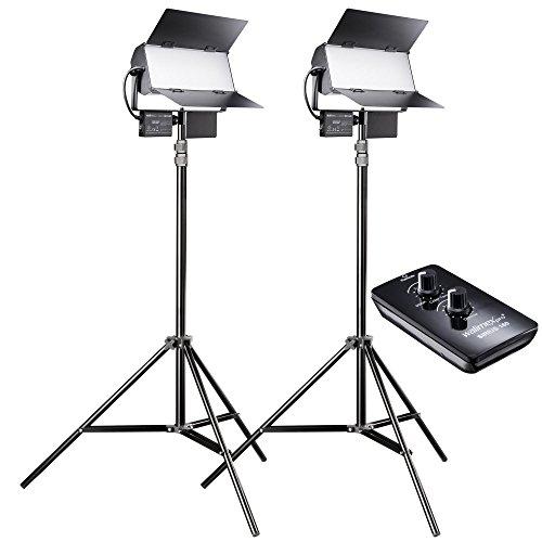 Walimex Pro LED Sirius 160 Daylight Set mit Stativ und Fernbedienung, Flächenleuchte, Studioleuchte, 65 Watt, 6000 Lumen