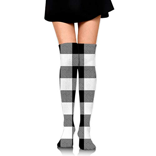 HiExotic Strümpfe Breathable Over Knee High Casual Black White Plaid Exotic Psychedelic Print Compression High Tube Thigh Boot Stockings Knee High Women Girl -