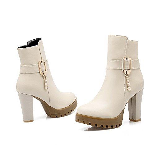 Damen Hoher Spitze Cremefarben Absatz Material Rund Stiefel Weiches Niedrig Zehe Aalardom OXqx1d1