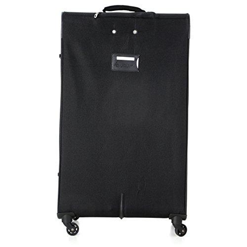 Aerolite Super Lightweight 4 Wheel Spinner Suitcase Travel Trolley 3 Piece Luggage Set (21″ Cabin + 26″ + 29″, Black/Grey)