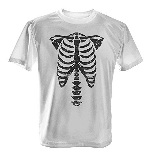Skelett - Herren T-Shirt von Fashionalarm | Spaß & Fun Shirt | Brustkorb & Knochen | Kostüm Verkleidung Horror Trick Or Treat Süßes Saures Oktober Reformationstag Halloween Fasching Karneval, Farbe:weiß;Größe:S