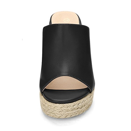 Allegra K Women's Open Toe Espadrille Heel Platform Mules (Size US 5.5) Black