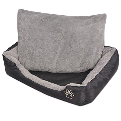 vidaXL Hundebett mit gepolstertem Kissen Hundekörbchen Bett Größe XXL Schwarz