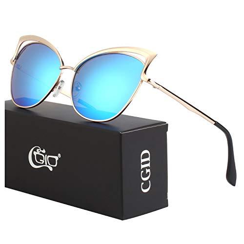 CGID Moderne Modische Spiegel Polarisierte Katzenauge Sonnenbrille Brille UV400,Gold Blau