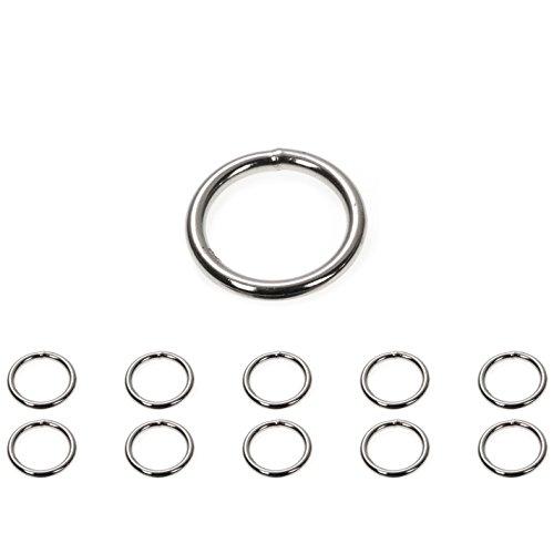 O - Ring aus Stahl, 10 Stück im Set, Stahl-Ring, Ring aus Stahl, Durchmesser Außen 25mm, Durchmesser Innen 19mm, Materialstärke 3mm, nichtrostend, Ideal in Verbindung mit Paracord 550 zu verarbeiten, geschweißt, Farbe chrom silber glanz, Marke Ganzoo