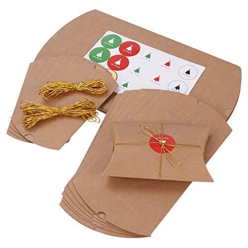 LIOOBO 23 STÜCKE Papier Boxen Kissen Pralinenschachtel Geschenkbox Kraftpapier Geschenkbox Vintage Stil Hochzeit Gefälligkeiten Liefert mit Hanfseil