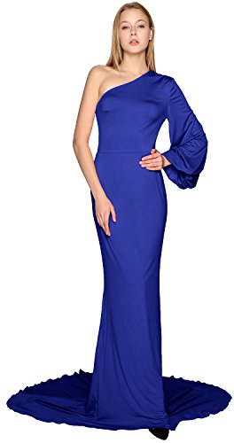 MACloth Women Long Mermaid Wedding Formal Evening Party Ball Gown Prom Dress Royal Blue
