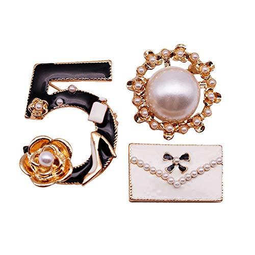 Fengteng Mode Nummer fünf Perle Brieftasche Broschen Sets Frauen Schmuck