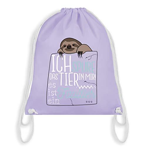 Statement Shirts – Ich spüre das Tier in mir es ist ein Faultier – Unisize – Pastell Lila – WM110 – Turnbeutel & Gym Bag