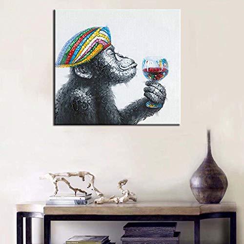 Neu Gerahmt (Handgemalte Acrylmalerei Ölgemälde Tiere Leinwand Gorilla Trinken Banksy Bild Familie Murale Décoration Kunst Peinture,NoFrame,75x120cm)