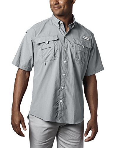 Columbia Men's Bahama II Shorts Sleeve Shirt, Cool Grey, XX-Large - Sleeve Grey Stripe Shirt