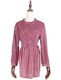 FuweiEncore Camisa Grande de Mujer Raya Camisas ahuecadas Blusas sólidas Blusas Sudadera Camiseta Camisa de túnica