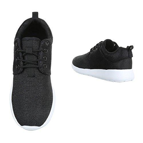 f64f3b51ce77cc ... Low-Top Sneaker Damenschuhe Low-Top Sneakers Schnürsenkel Ital-Design  Freizeitschuhe Schwarz KK