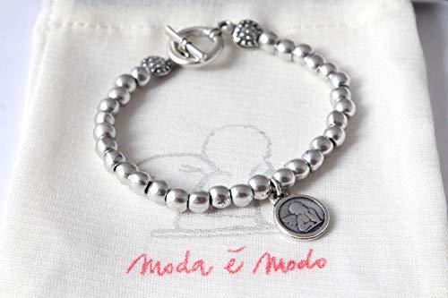 2a8ba795d0 Braccialetto Venus da donna fatto a mano con palline in colore silver e  chiusura T toggle