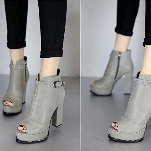 L@YC Femmes poissons bouche talons hauts au printemps et en automne en grosses bottes imperm¨¦ables sombre noir gris gray