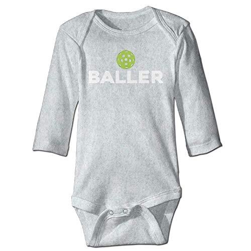 MSGDF Unisex Newborn Bodysuits (Pickle) Baller Dark Pickleball Baby Babysuit Long Sleeve Jumpsuit Sunsuit Outfit Ash (Dark Sexy Tan)