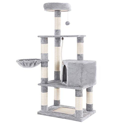 Songmics tiragraffi per gatti con pali da graffiare, torre, cuccia e cesto, mobile per attività, peluche e grigio chiaro pct60w
