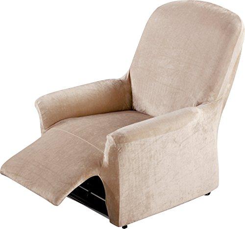 Erwin Müller Stretchbezug, Stretchhusse, Bezug für Relax-Sessel Natur - samtig weiche Oberfläche, praktische Gummizüge, sehr Gute Passform (weitere Farben, Größen)