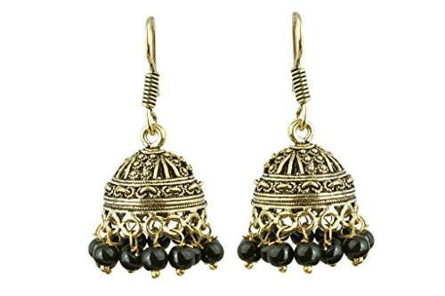 Waama Jewels Black Pearl Jhumki Wedding Wear earring for Women Official Jewellery  available at amazon for Rs.49