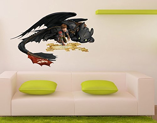 Preisvergleich Produktbild Wandtattoo Dragons Hicks und Ohnezahn B x H: 77cm x 50cm von Klebefieber®
