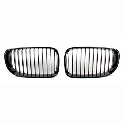 Mengonee 1 paire brillant brillant ABS chrome noir Garniture Inserts Mesh Grille Cover pour BMW 1 Série E81 E87 2008-2011