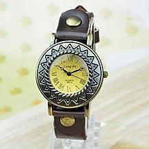 Relojes Hermosos, Reloj de pulsera de cuero de vaca número romano sol de moda femenina
