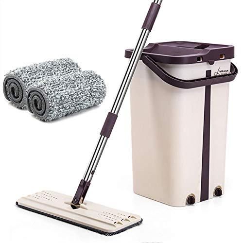 Tianxiu Wash & Dry Flat Mop & Bucket-Reinigungssystem Praktisches, Waschfreies, Einziehbares Flat Mop Arbeitssparendes Mopp Kompakte Aufbewahrung Für Zu Hause Wash Mop