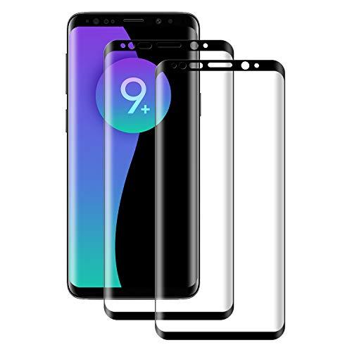 POOPHUNS Panzerglas Schutzfolie kompatibel mit Samsung Galaxy S9 Plus, Gehärtetes Glas Bildschirmschutzfolie mit 9H Härte, HD Ultra Klar, Anti-Kratzen, Anti-Öl, Bildschirmschutz Folie für S9 Plus(2 Stück)
