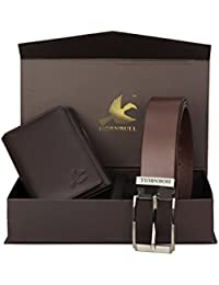 Hornbull Men's Brown Wallet and Brown Belt Combo BW92100