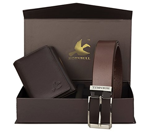 HORNBULL Men's Leather Wallet and Belt Combo (Brown, HBCM16BW92100)