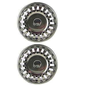 2X Filtro per lavello da cucina,doppio strato in acciaio INOX, con tappo (79.3mm)