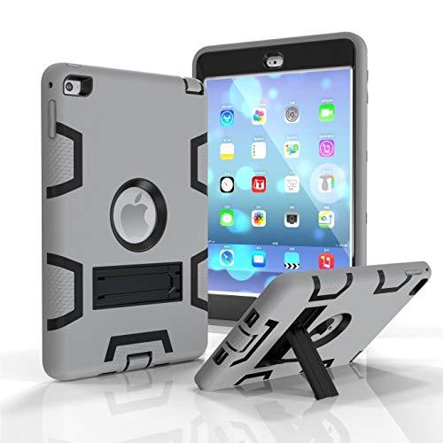 iPad Mini Hülle, iPad Mini 2 Hülle, iPad Mini 3 Hülle, 3 in 1 strapazierfähiger Schutz Kickstand Combo Hybrid Impact Silikon Hard Case Cover für Apple iPad Mini 1 2 3 (grau/schwarz) Combo Hard Case