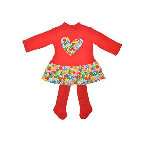 AGATHA RUIZ DE LA PRADA 2tlg. SET Baby Kleid & Strumpfhose, Mädchen Outfit, VEO VEO 9329W15, ROT, 36M (96cm)