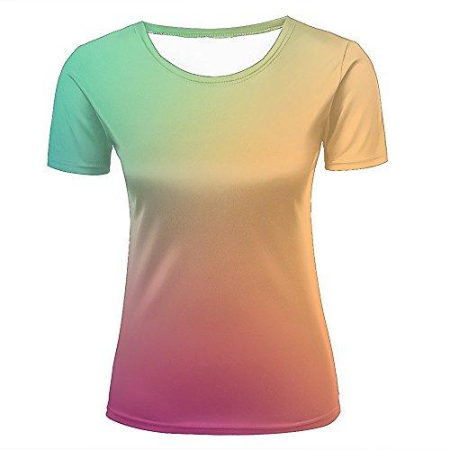 Womens Novelty 3D Print Hazy Yellow Green Gradient Pattern Casual Short Sleeve T-Shirts Fashion Couple Tees XS
