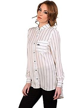 V&L - Camisa Rayas Manga Larga, Mujer, Color Blanco, Talla 4