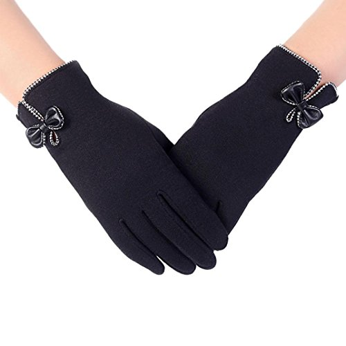 Gloves Transer® Womens Fashion Touch Screen Gloves Girls Winter Outdoor Sport Warm Gloves Cotton Gloves for Motorcycle Riding/ Driving (Black)