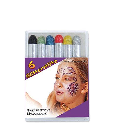 Glitterstifte 6er Pack Theaterqualität Qualitätsschminke Glitzerschminke 6 verschiedene Farben (Maske Schmetterling Glitter Pink)
