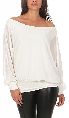 Malito Damen Chiffon Langarm Bluse   Tunika mit Weiten Ärmeln   Blusenshirt mit Breitem Bund   Elegant - Schick 6291 (Weiß)