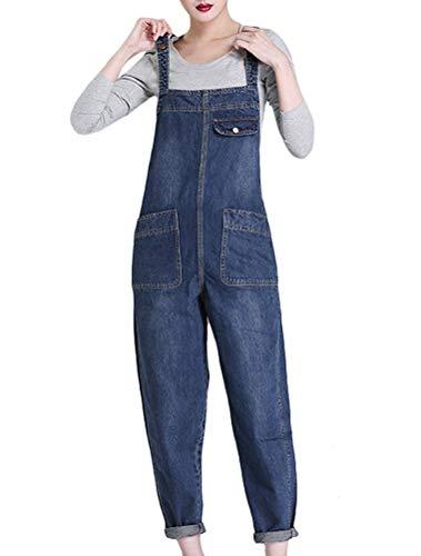 5d6747ef9538dd MatchLife Damen Breite Beine Hosen Loose Denim Jeans Jumpsuit Latzhose  Overalls (Fits Größe 42-48