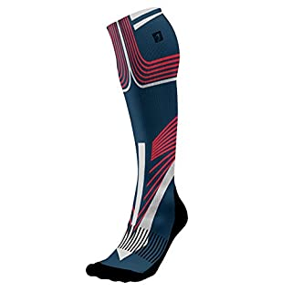Acel Designer Compression Socks Graduated for Performance and Recovery by (Carver Red, L)