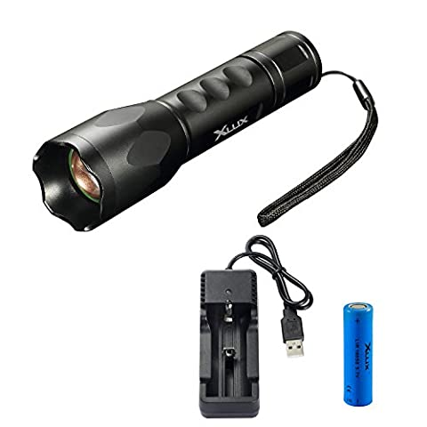 [Charge Anywhere] rechargeable torch LED tactical flashlight, super bright, with USB charger and 18650 Li-ion battery